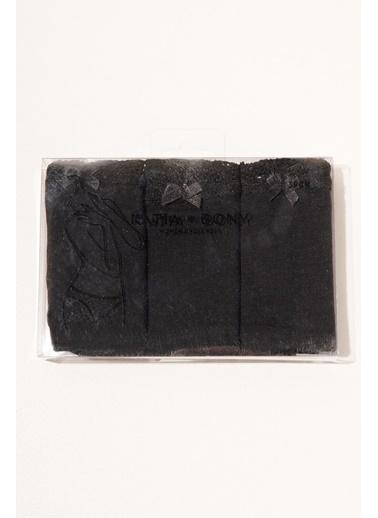 Katia & Bony 3 ' Lü Paket Natural Modal Lace Kadın Slip - Siyah/Beyaz/Ten Siyah